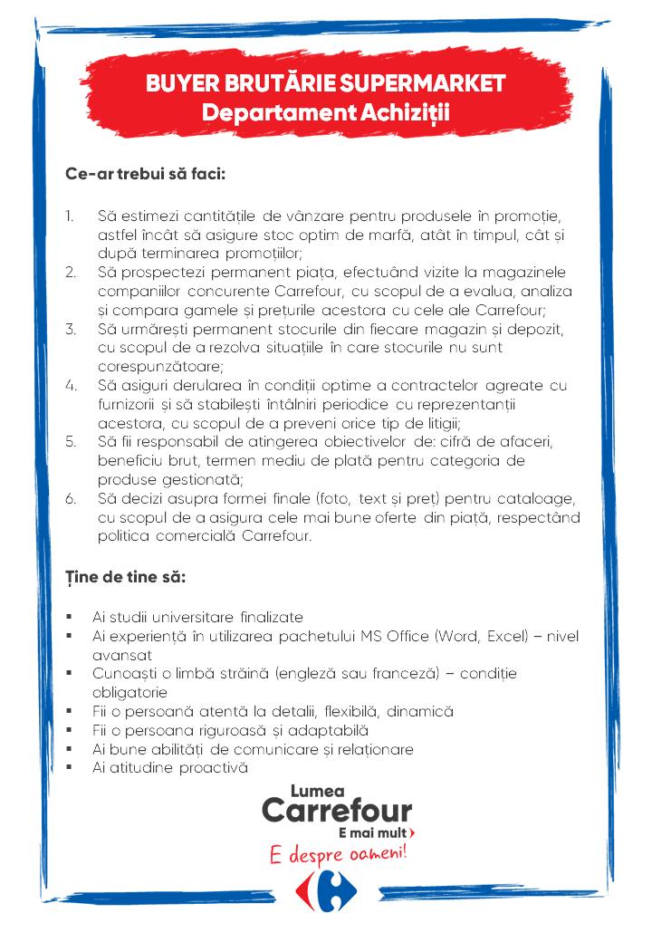 Buyer Brutărie Supermarket la Carrefour