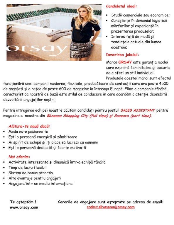SALES ASSISTANT  -  BUCURESTI & SUCEAVA