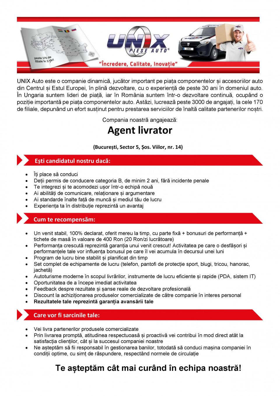 Agent livrator – Bucuresti (Sector 5)