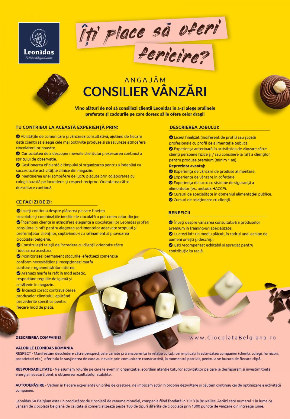 Consilier Vanzari -  Ciocolaterie Leonidas