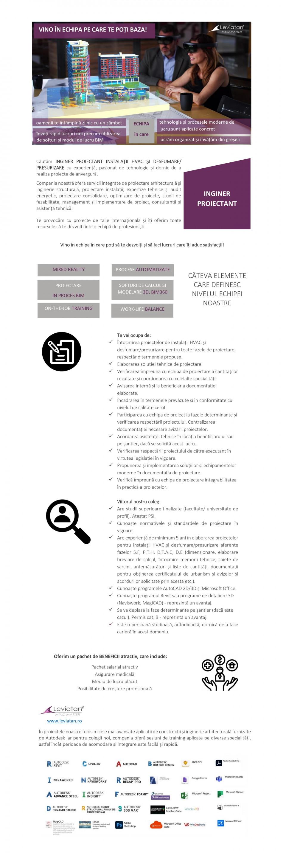 INGINER PROIECTANT INSTALAȚII HVAC ȘI DESFUMARE/ PRESURIZARE