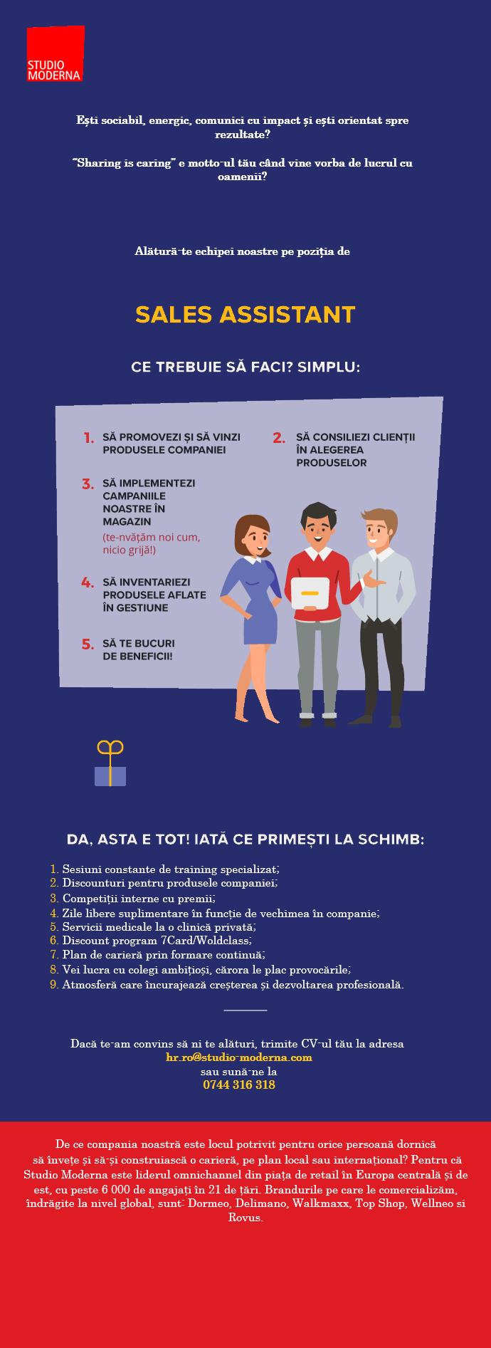 Sales Assistant Top Shop&Dormeo Bucuresti–Part time/Full time