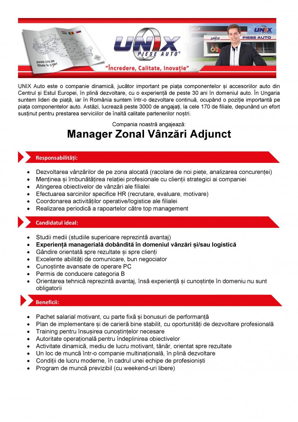 Manager Zonal Vanzari Adjunct